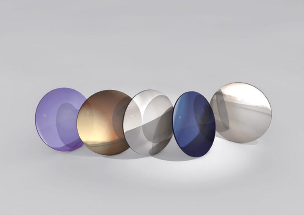 Brillengläser unterschiedlicher Färbung für Sonnenbrillen.